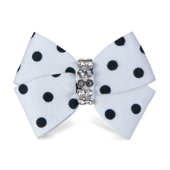 Black and White Polkadot Nouveau Bow Hair Bow Barrette
