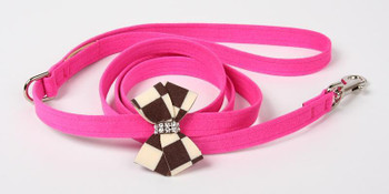 Windsor Check Nouveau Bow Dog Leash by Susan Lanci