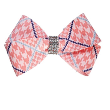 Peaches N Cream Houndstooth Nouveau Bow Hair Bow Barrette