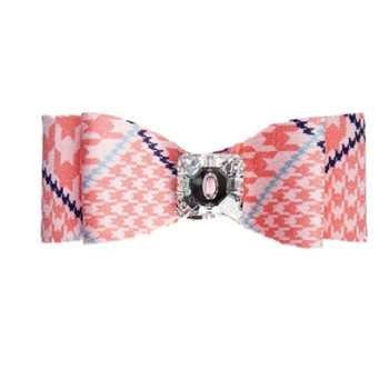 Peaches N Cream Houndstooth Big Bow Hair Bow Barrette