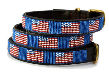 American Flag African Beaded Collar & Leash Collection