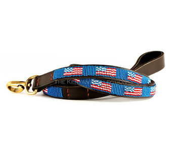American Flag African Beaded Dog Leash