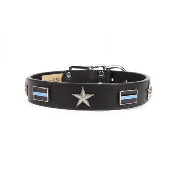Thin Blue Line Service Emblem Collar - Size 18 - 34 Inch