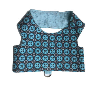 Blue Geometric Dog Harness
