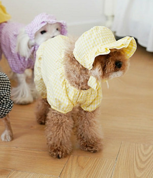Yellow Bebe Check Summer Dog Romper