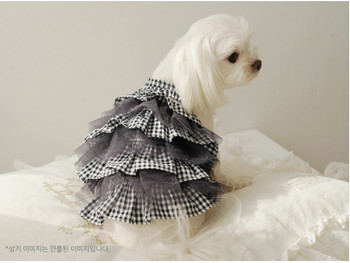 Black Bebe Check Cancan Dog Dress
