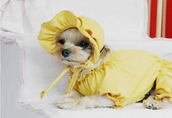 Ponchan Cotton Sleeveless Dog Overall / Pajama & optional Hat - Yellow