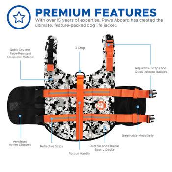 Black/White CAMO Neoprene Pet Life Vest