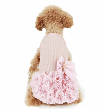 Luxury Frilled Dog Dress - Pink / Gold