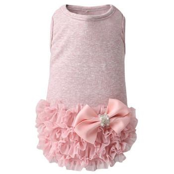 Luxury Frilled Dog Dress - Pink / White