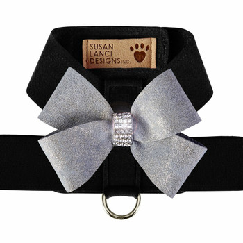 Black Tinkie Harness with Platinum Glitzerati Nouveau Bow - Choose Color