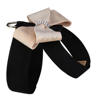 Black Tinkie Harness with Champagne Glitzerati Nouveau Bow - Choose Color