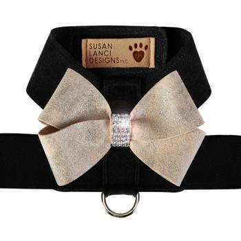 Black Tinkie Harness with Champagne Glitzerati Nouveau Bow - Choose Color