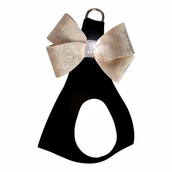 Black with Champagne Glitzerati Nouveau Bow Step in Harness - Choose Color
