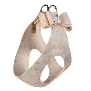 Champagne Glitzerati Big Bow Dog Step in Harness