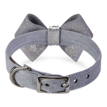 Platinum Glitzerati Nouveau Bow Dog Collar