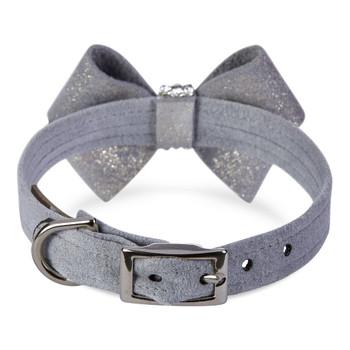 Platinum Glitzerati Nouveau Bow Dog Collar