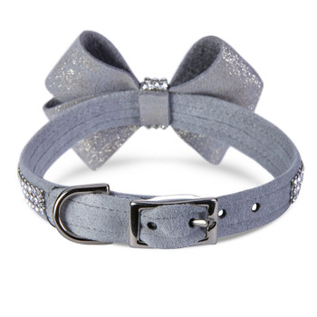 Platinum Glitzerati Nouveau Bow 3 Row Giltmore Dog Collar