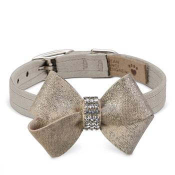 Champagne Glitzerati Nouveau Bow Dog Collar