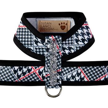 Classic Glen Houndstooth Crystal Rocks Tinkie Dog Harness with Trim