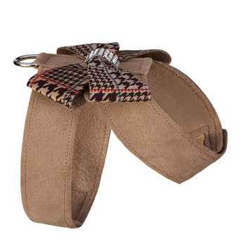 Custom - Chocolate Houndstooth Nouveau Bow Tinkie Dog Harness