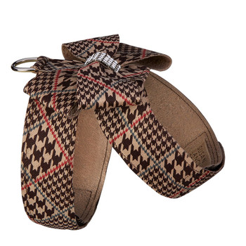 Chocolate Houndstooth Nouveau Bow Tinkie Dog Harness