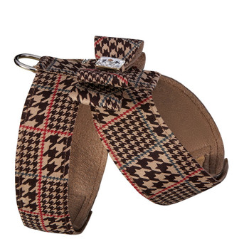 Custom - Chocolate Houndstooth Big Bow Tinkie Dog Harness