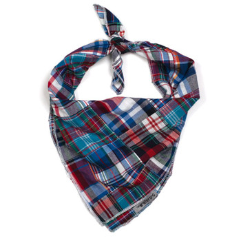 Blue Multi Patch Madras Dog Tie Bandana