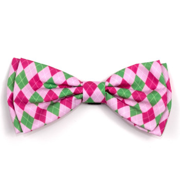 Preppy Argyle Pink Pet Dog Bow Tie