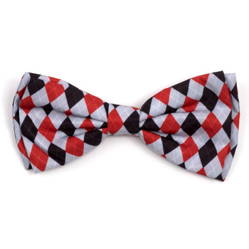 Preppy Argyle Red/Gray Pet Dog Bow Tie
