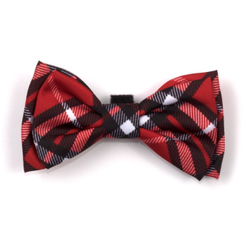 Bias Plaid Red Pet Dog Bow Tie