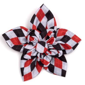 Preppy Argyle Red/Gray Pet Dog Collar Flower