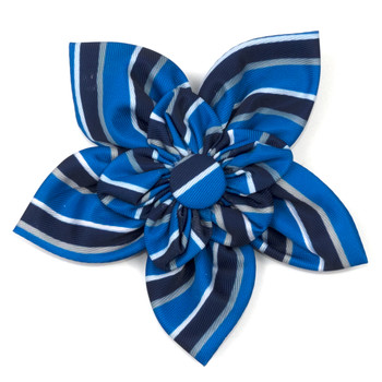 Prep Stripe Blue Pet Dog Collar Flower