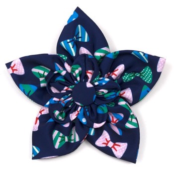 Bow Ties Navy Pet Dog Collar Flower