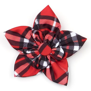 Bias Plaid Red Pet Dog Collar Flower