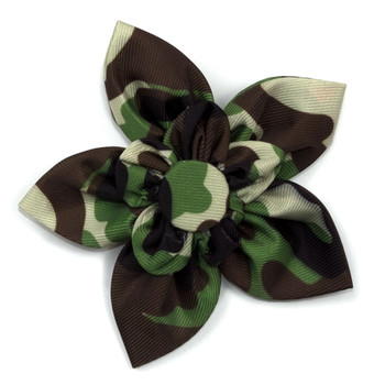 Camo Brown Pet Dog Collar Flower
