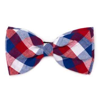 Red/White/Blue Check Pet Dog Bow Tie