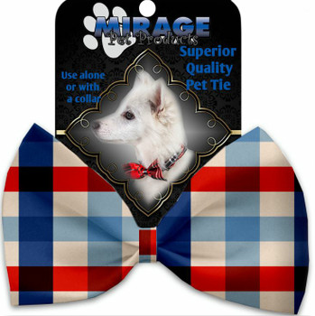 Patriotic Plaid Pet Dog Bow Tie
