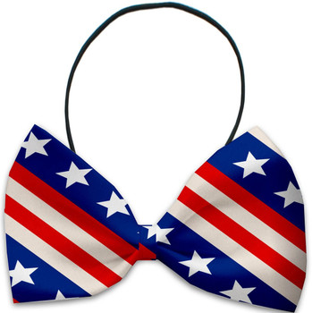 Patriotic Stars and Stripes Pet Dog Bow Tie