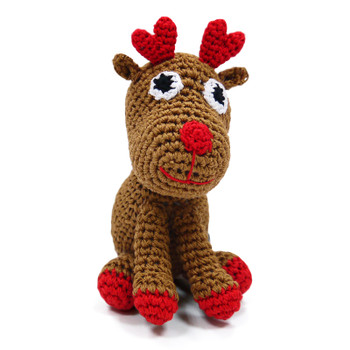 Reindeer Crocheted PAWer Squeaker Dog Toy