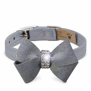 Platinum Glitzerati Nouveau Bow Dog Collar - XXL 5/8""