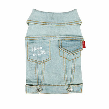 Geolgine Denim LOVE Dog Jacket - Lt Blue