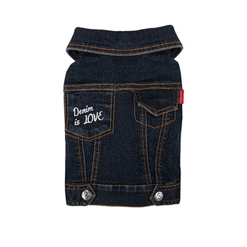 Geolgine Denim LOVE Dog Jacket - Navy Blue
