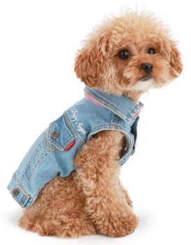 Puppy Angel Embroidered Denim Dog Jacket - Lt Blue