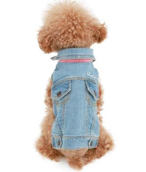 Puppy Angel Embroidered Denim Dog Jacket - Lt Blue