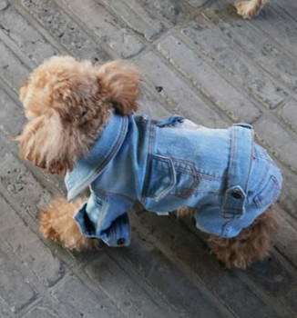 Puppy Angel Embroidered Denim Dog Jacket w/ Sleeves - Lt Blue
