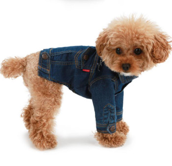 Puppy Angel Embroidered Denim Dog Jacket w/ Sleeves - Navy Blue