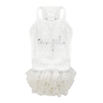 Puppy Angel Feel The Happiness Sleeveless Dog Tutu Dress - White