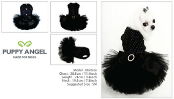 Puppy Angel Kay Luxury Dog Tutu Dress - Black