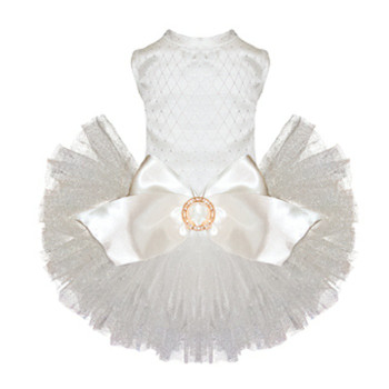 Puppy Angel Kay Luxury Dog Tutu Dress - White